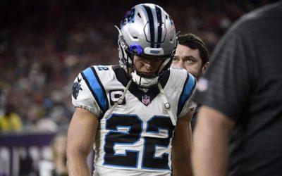 El corredor de los Panthers, Christian McCaffrey, se lesionó el tendón de la corva contra los Texans