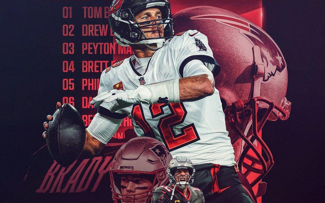 Tom Brady se convierte en el líder de todos los tiempos en yardas aéreas de la NFL